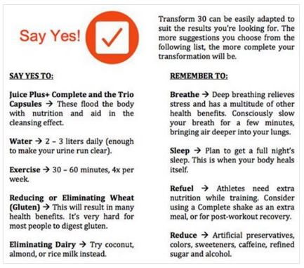 30 day shred diet menu