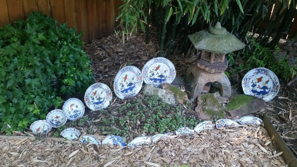Re-purposed Dishes as a Garden Decor Accent by Growing Plants Growing People